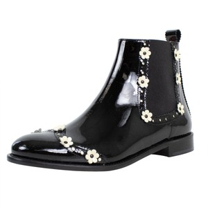 RED Valentino Winter Flower Patent Leather Black Boots