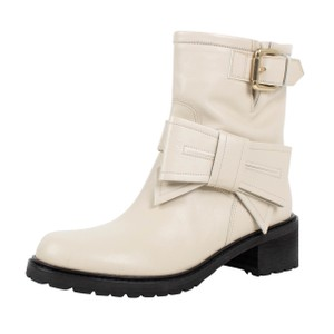 RED Valentino Winter Leather Buckle Cream Boots