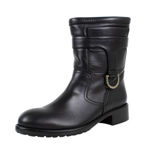 RED Valentino Winter Leather Buckle Black Boots