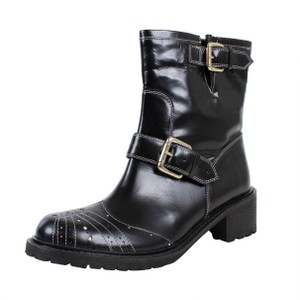 RED Valentino Winter Buckle Patent Leather Black Boots
