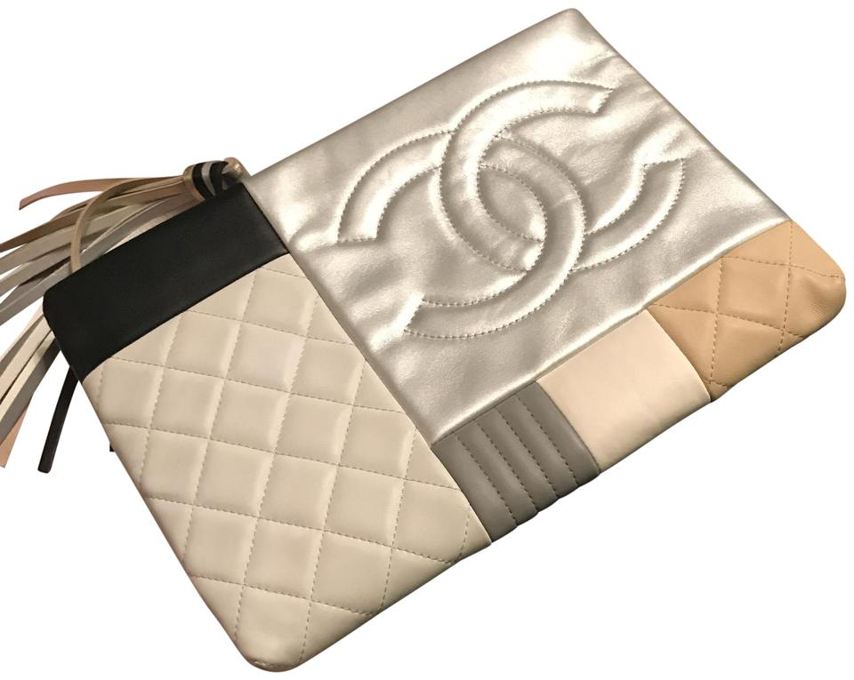 02c115303385 Chanel Limited Edition Quilted Patchwork Pouch Black White Tan & Metallic  Lambskin Leather Clutch