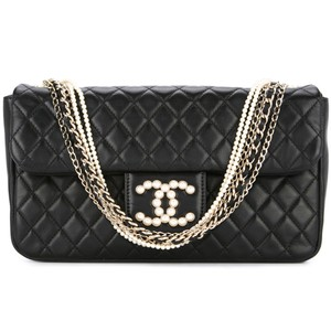 Chanel Westminster Pearl Classic Flap Limited Edition Satchel in Black