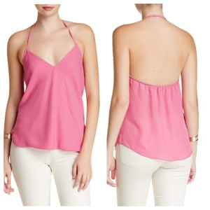 Anthropologie Halter Draped Top Pink