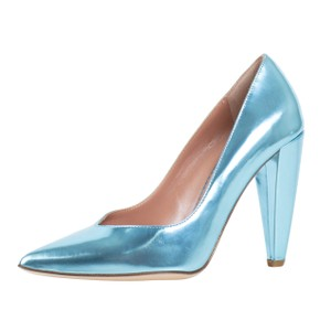 RED Valentino Metallic Laminated Leather Chunky Pointed Toe Blue Pumps