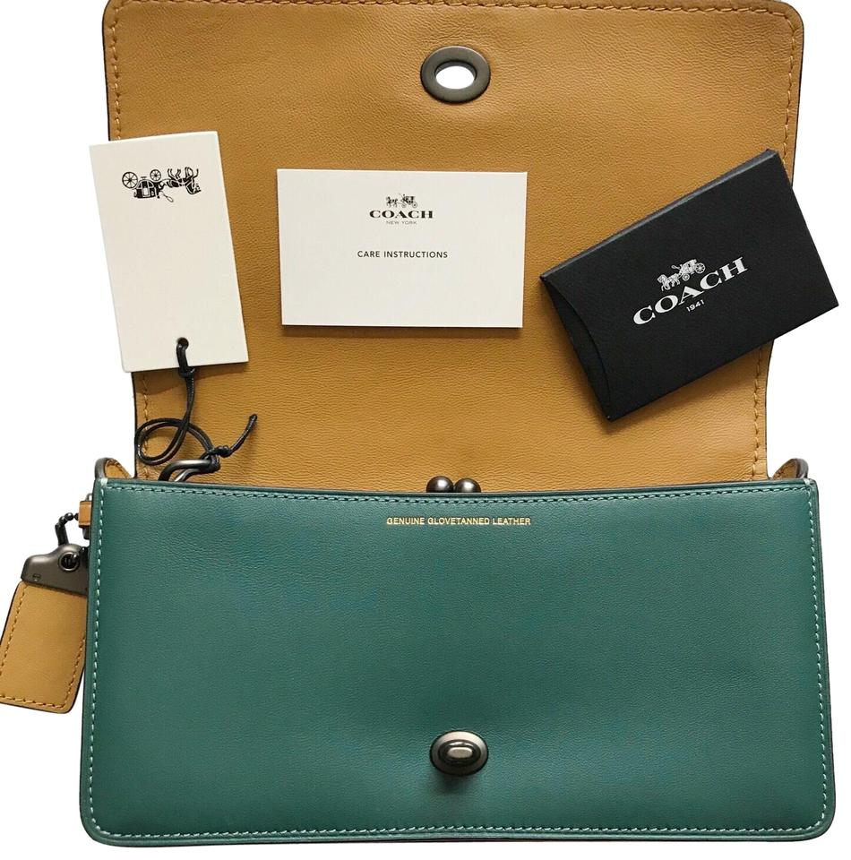 ee4ceacb8f4b6 Coach 1941 New with Tag Dinky Green and Yellow Colorblock Calfskin Leather  Cross Body Bag
