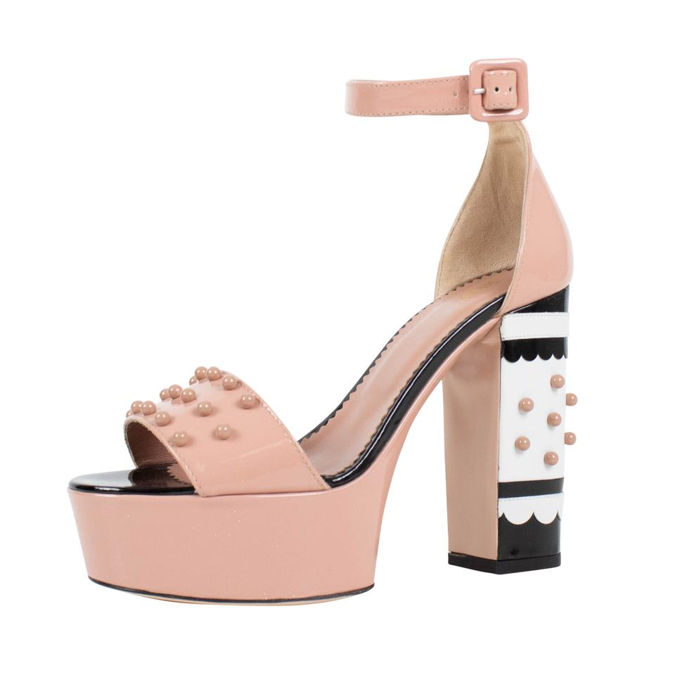 Red Valentino Pink With Circle Studs Open Toe Platform Pumps Size Us Mary Janes Straps Block Pointed Wedges Shoes Black Ankle Strap Studded