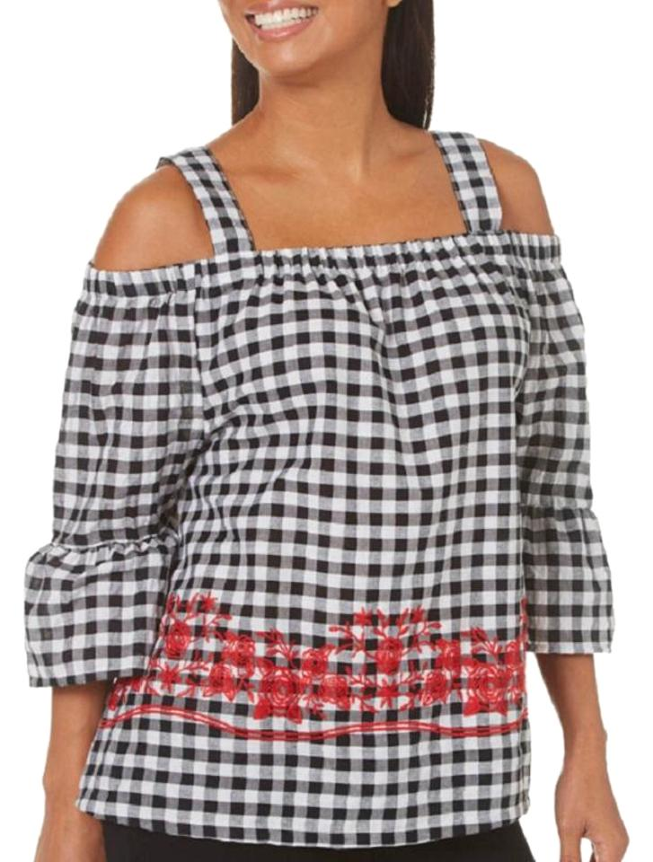 bc72b6c2c84259 Womens Gingham Floral Cold Shoulder Blouse Size 14 (L) - Tradesy