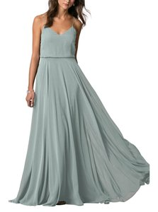 Jenny Yoo Ciel Blue Chiffon Inesse Traditional Bridesmaid/Mob Dress Size 8 (M)