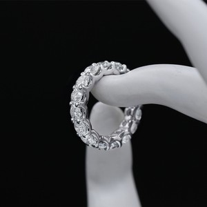 14k White Gold Eternity Band Features 5.00ct Of Round Ring