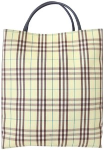 Burberry Plaid Novacheck Purse Tote in Lime Green