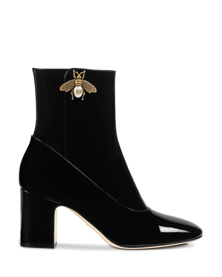 1d9d286fc Gucci Black Lois Patent Gold Bee Gg Short Ankle Heel Boots/Booties. Size: EU  ...