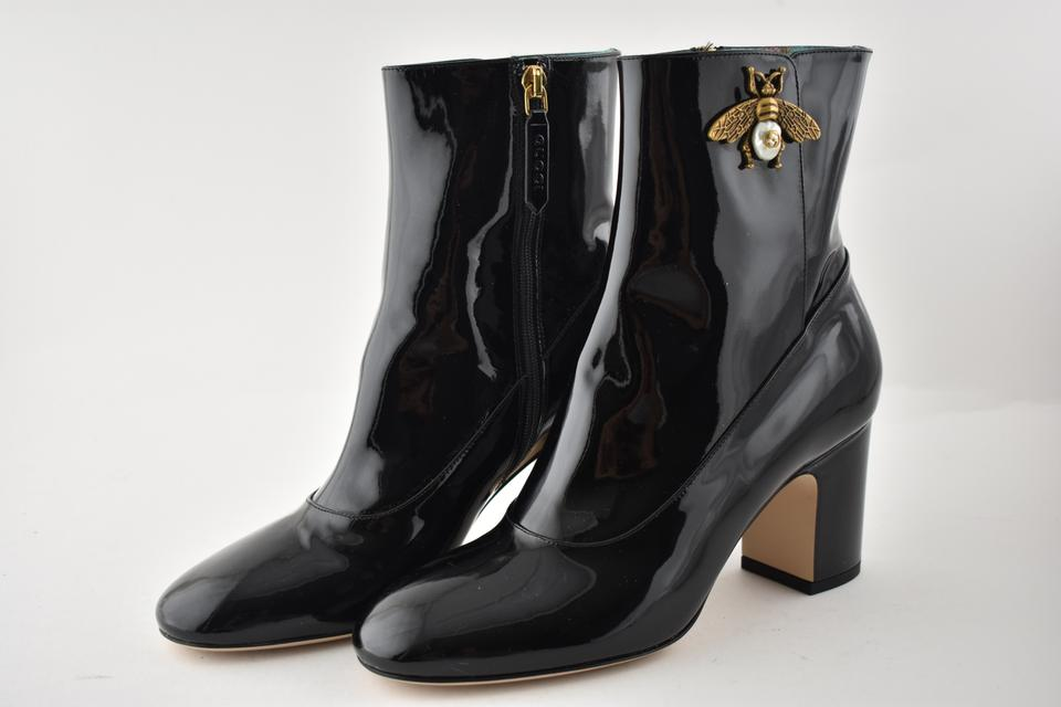 61f3fe8b9 Gucci Stiletto Leather Ankle Patent black Boots Image 11. 123456789101112