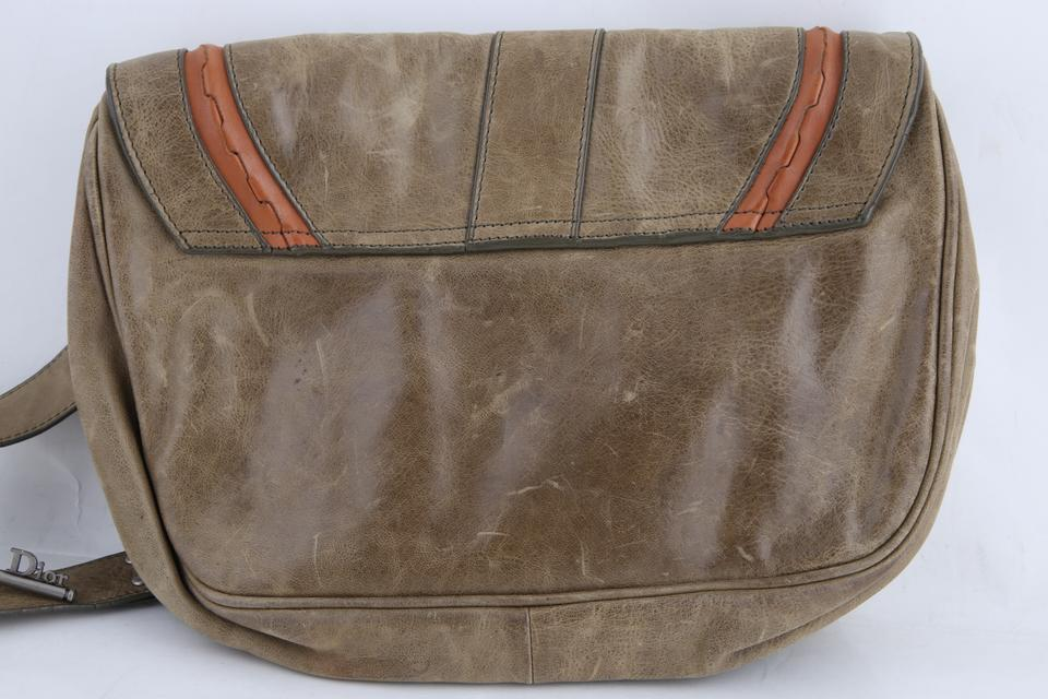 8d30cf4d07a5 Dior Christian Large Gaucho Double Saddle Green Leather Messenger Bag -  Tradesy