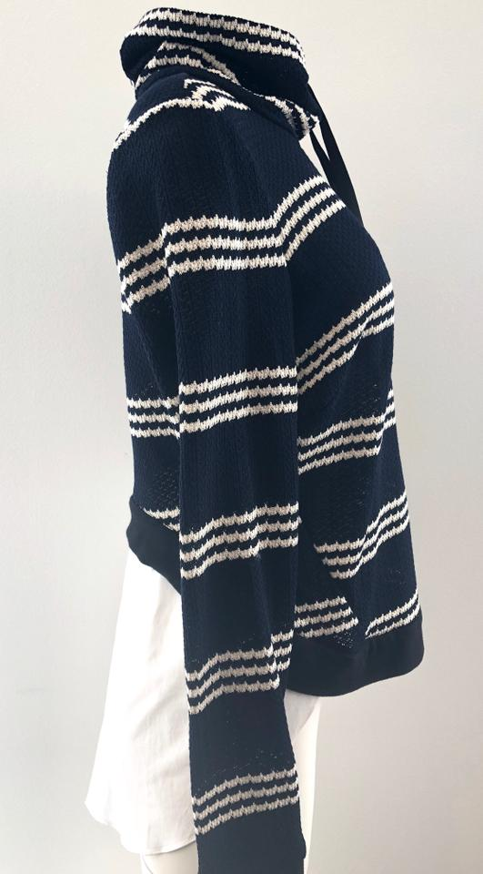1bd3c5df499a3 Veronica Beard Striped Mixed-media Blue Sweater - Tradesy