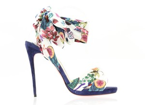 Christian Louboutin Ribbon Ankle Wrap China Blue Multicolor Sandals