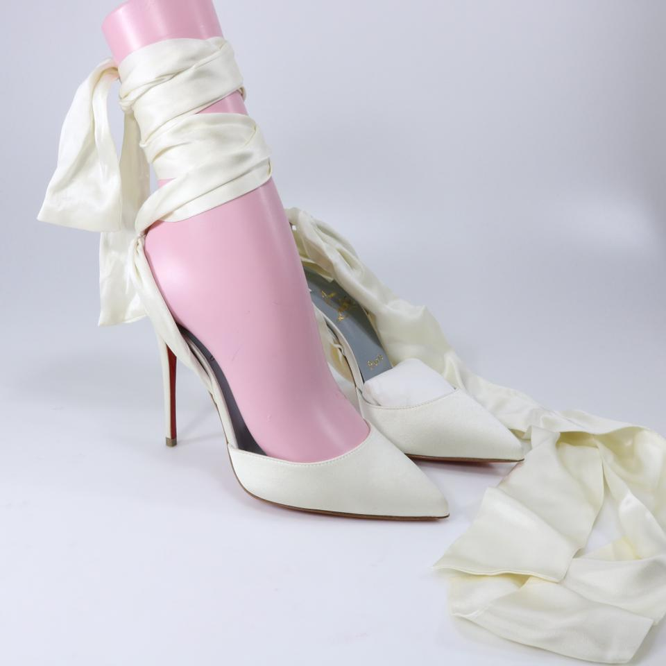 489c753d99ae Christian Louboutin White Off White Douce Du Desert 100mm Ribbon Bridal  Lace Up Heels A913 Sandals Size EU 36.5 (Approx. US 6.5) Regular (M