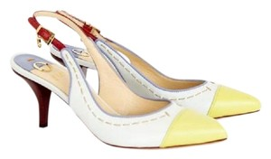 O Jour Slingback Leather Pointed Toe White / Yellow / Red Pumps