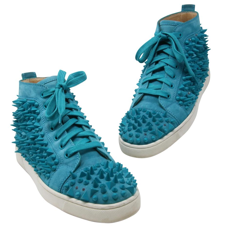 de672e804a4 Christian Louboutin Turquoise Classic Louis Flat Studded Spikes Men s High Top  Sneakers 41 Formal Shoes