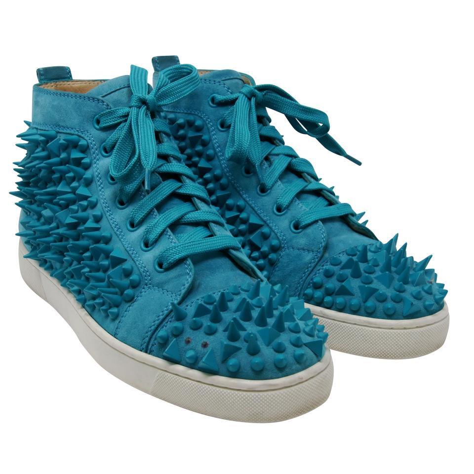 f14dae968d6 Christian Louboutin Turquoise Classic Louis Flat Studded Spikes ...