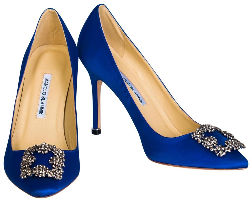 e57680a15da1 Manolo Blahnik Blue Hangisi 70 Crystal-embellished Satin Pumps Size ...