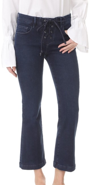 Item - Blue Dark Rinse Le Crop Mini Boot Lace-up High Flare Leg Jeans Size 8 (M, 29, 30)