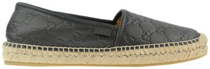 Gucci Monogram Leather Espadrille Logo Black Flats