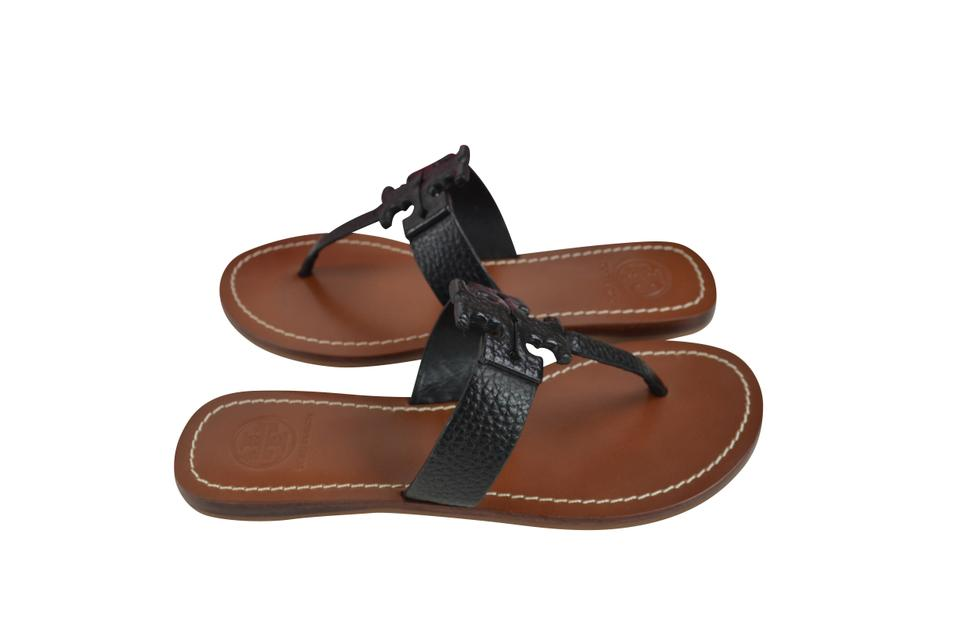 00c443f255a3 Tory Burch Black Moore Flat Thong Elba Tumbled Leather Sandals Size ...
