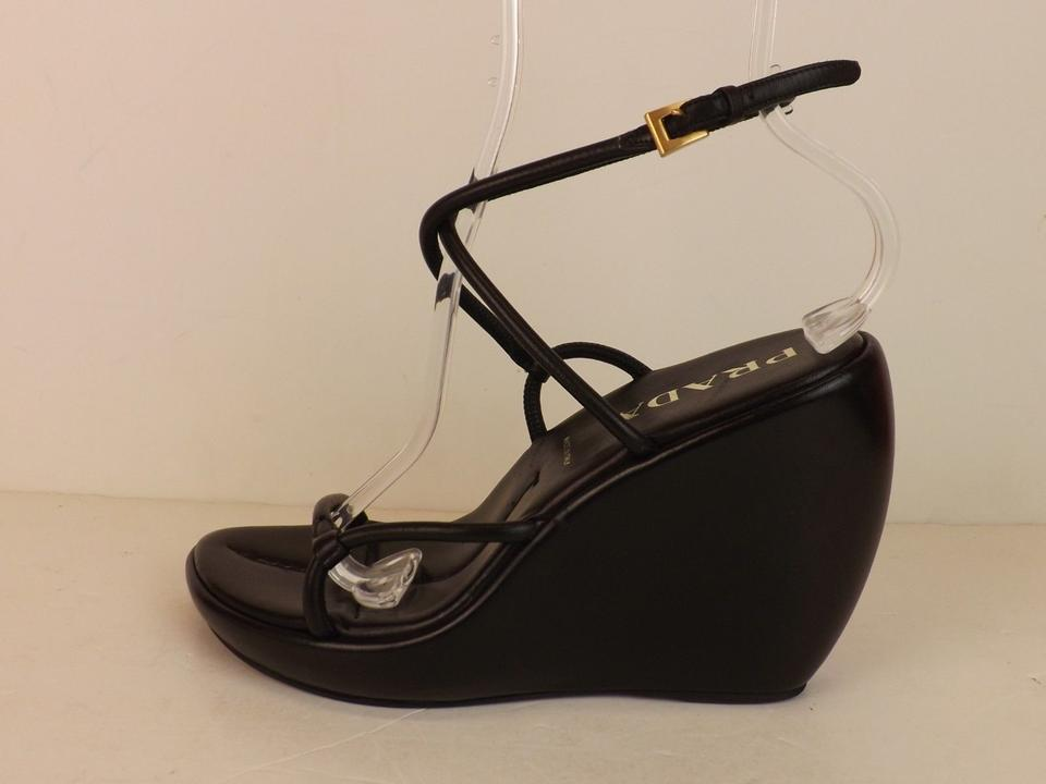 9f3ef0905bf Prada Black Leather Crisscross Ankle Strap Heel Platform Sandals Wedges  Size EU 38.5 (Approx. US 8.5) Regular (M
