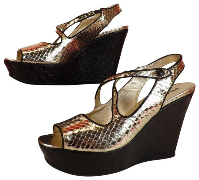Item - Silver 1k7394 Lite Gold Snake Print Leather Black Platform Sandals Wedges Size EU 39.5 (Approx. US 9.5) Regular (M, B)