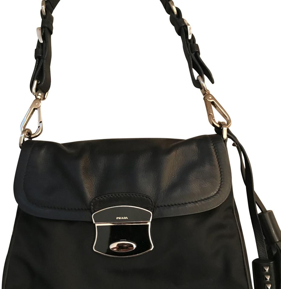 Prada mini satchel black nylon leather shoulder bag tradesy jpg 933x960 Mini  prada aaed4ccc865ad