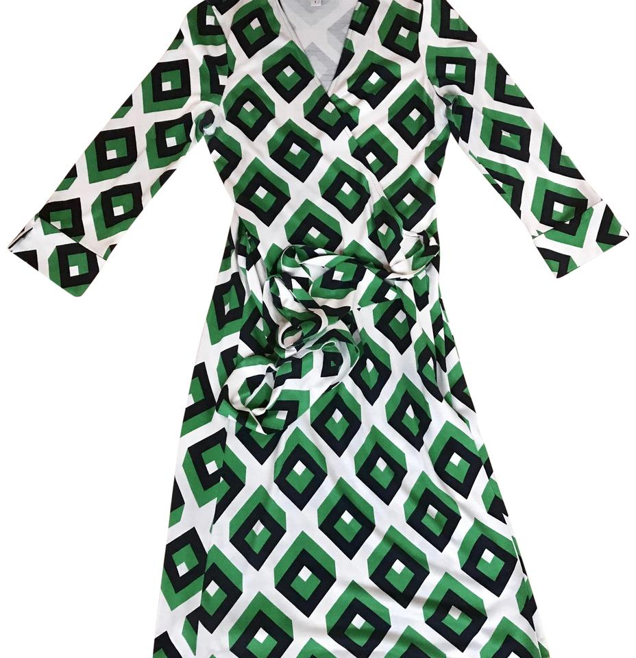 fe1852a43ef Diane von Furstenberg Green Cream and Dark Navy Print Dvf Vintage Wrap  Work Office Dress