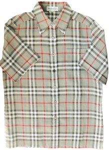 Burberry Novacheck Plaid Shirt Size Small Button Down Shirt SAGE GREEN
