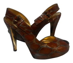 Report Signature Vintage Peep-toe Leather Sex Kitten Brown Platforms