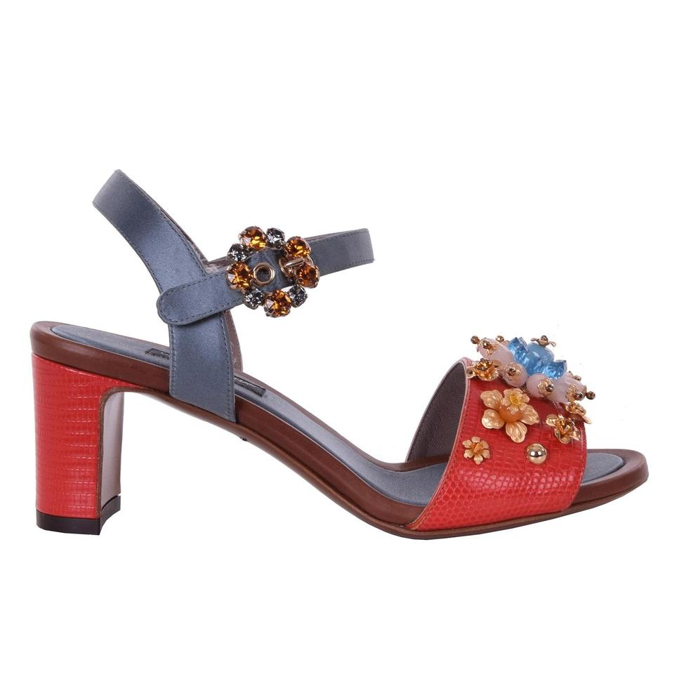 Dolce&Gabbana Dolce Pearls & Gabbana Bejeweled Floral Pearls Dolce Sandals Red Gray Pumps 9d82f1