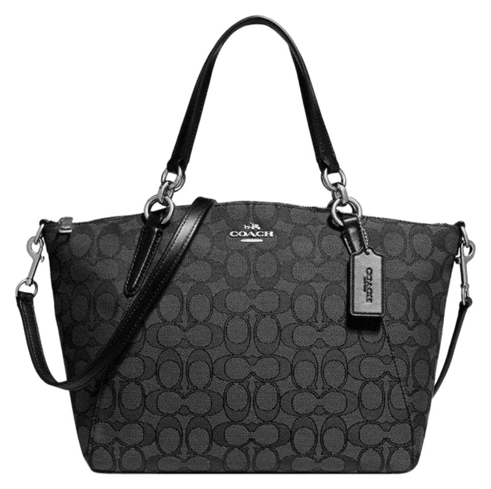 1263fe22a850 Coach Kelsey In Signature Jacquard F27582 Smoke Black Canvas Satchel ...