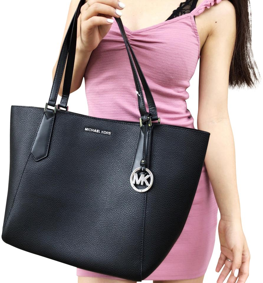 55ec801b798716 Michael Kors Kimberly Large Bonded Top Zip Black Leather Tote - Tradesy