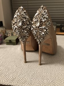 Badgley Mischka Latte Kiara Embellished Peep-toe Evening Pumps Size US 6.5 Regular (M, B)