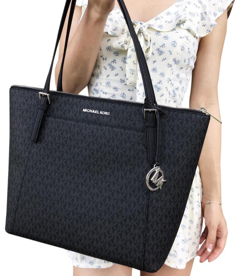 6eb47d235f47 Michael Kors Mk Signature Top Zip Jet Set Tote in Black Image 0 ...