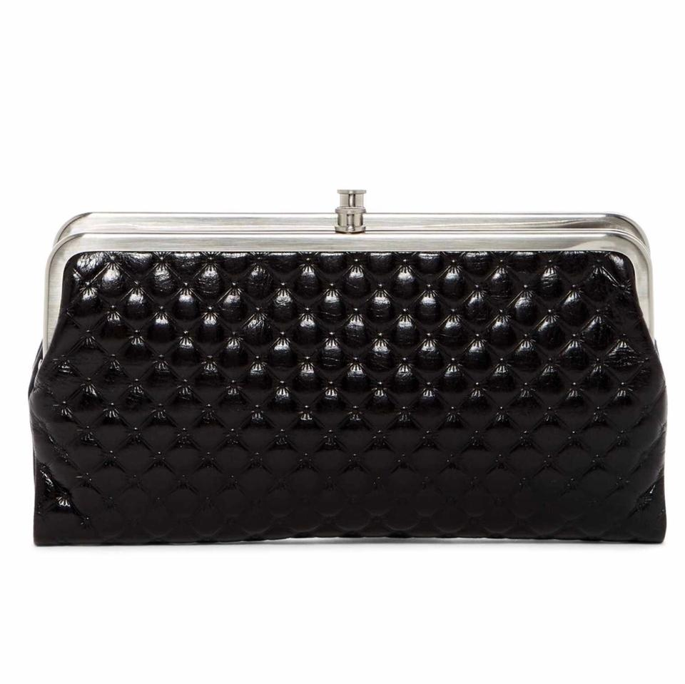8597f6d1f94ba Hobo International Black Silver Lauren Quilted Leather Clutch Wallet ...