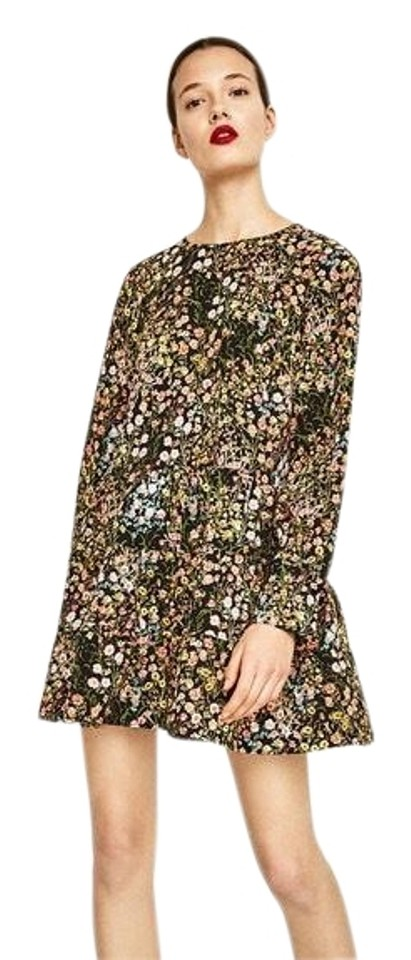bc09093ed5af Zara Black White Pink Multi Floral Long Sleeve Short Open Romper ...