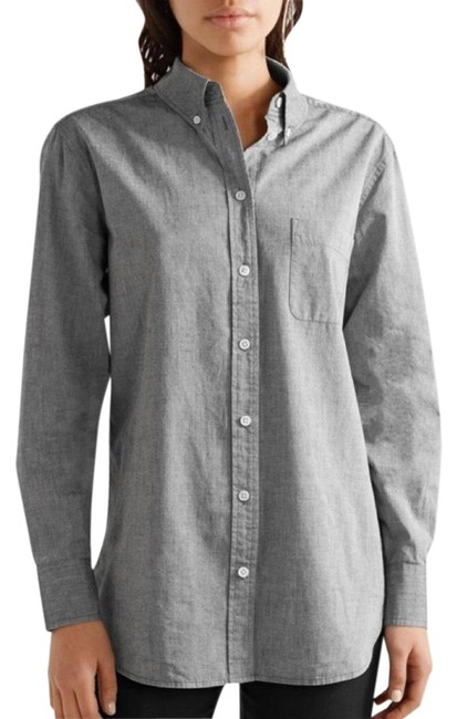 Item - Gray Margaux Cotton-chambray Shirt Button-down Top Size 0 (XS)