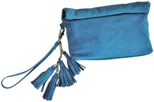 Anthropologie Tassels Suede Turquoise Teal Clutch