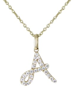 "Sydney Evan Necklace Pavé Diamond Initial ""A"" Large 14K Yellow Gold"