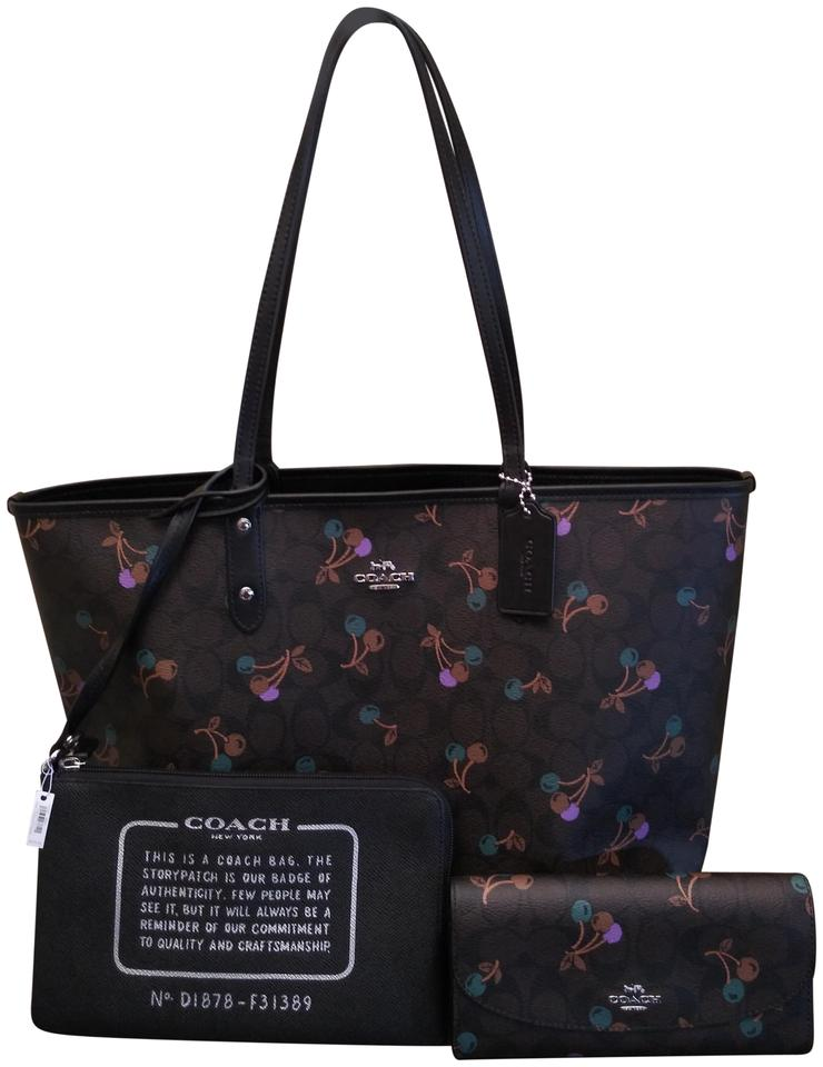 b987d03b39d Coach City Reversible and Wallet Set In Cherry Print Brown Canvas Tote 54%  off retail