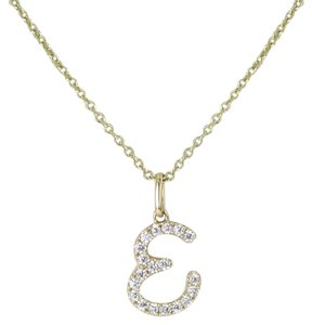 "Sydney Evan Initial ""E"" Necklace Diamond 0.33cts Large 14K Yellow Gold"