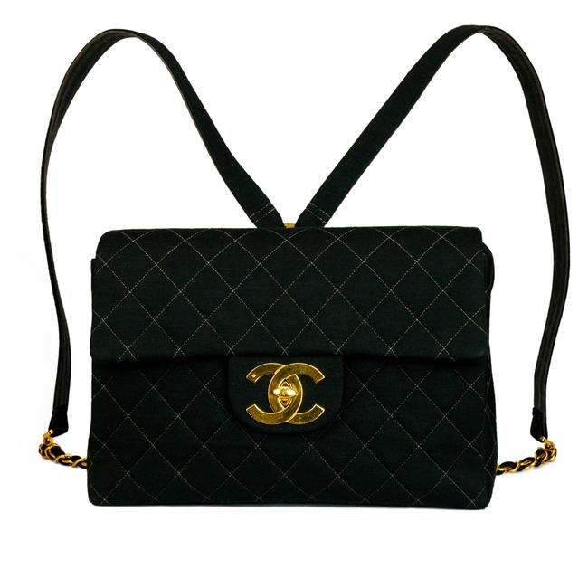 Item - Classic Flap Quilted Cloth Jumbo Black Canvas Backpack