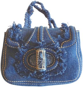 Prada Denim Fringed Shoulder Bag