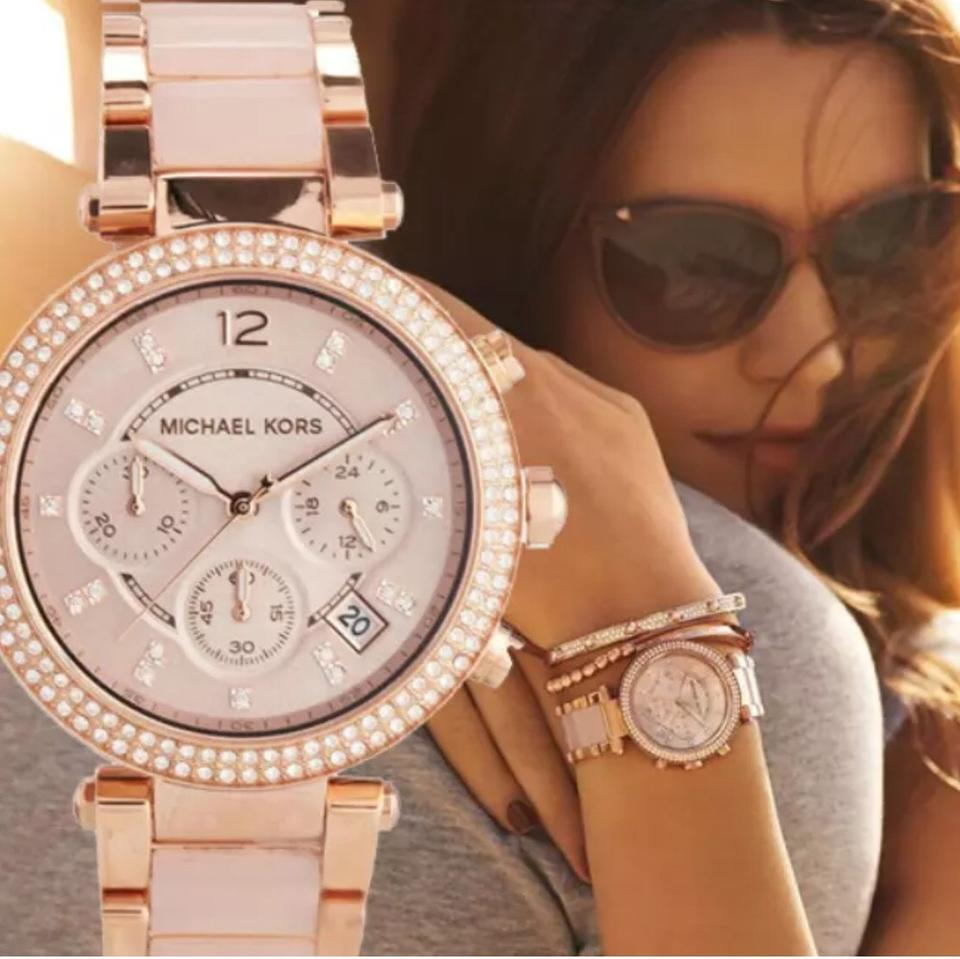 be6389ac677 Michael Kors Michael kors MK5896 parker Blush and Rose Gold-Tone Stainless  Steel Bracelet Watch. 123456