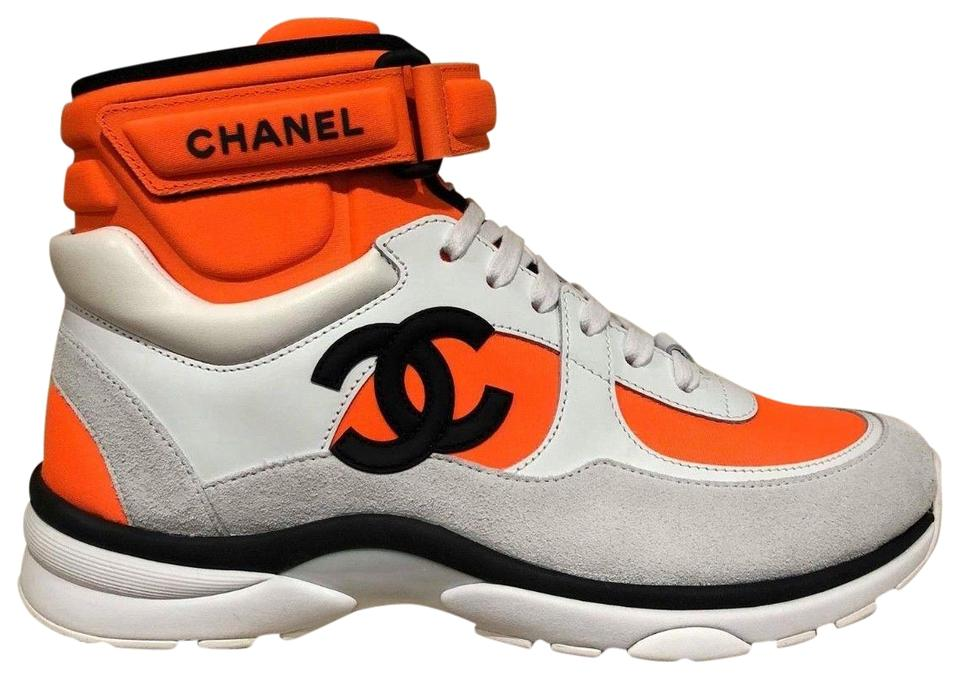 d5a82ca6 Chanel Orange 18p White Neoprene Cc Logo Lace Up Tie Flat Trainer High Top  Sneakers Size EU 41 (Approx. US 11) Regular (M, B)