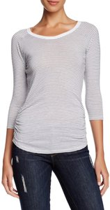 James Perse Striped Print Ruched Seams Crew Scoop Neck 3/4-sleeves Semi-fitted T Shirt Multi-Color